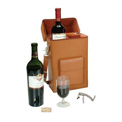 Royce Leather 620-TAN-8 Connoisseur Wine Carrier Tan
