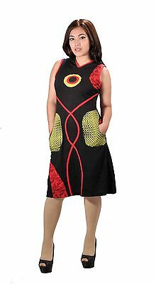 Ladies Sleeveless cotton dress. Hood, pockets and patchwork design (LMN1012)