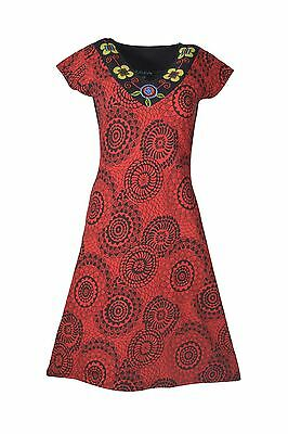 Women's Dress With Patch And Embroidery In Neckline