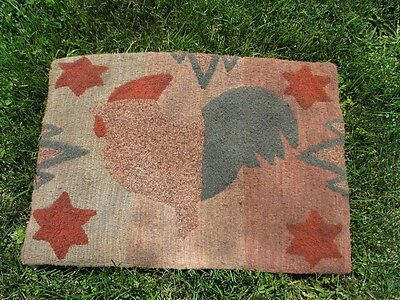 """Primitive Hooked Rug Pattern On Linen """"Antique Adaptations: Antique Rooster"""""""