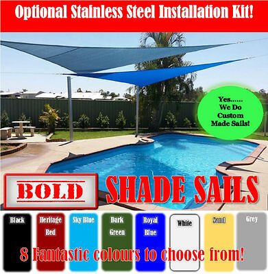 Shade Sail 8 Colours 9 Sizes Sun Canopy Outdoor Shade Cloth 280gsm  S/Steel Kit