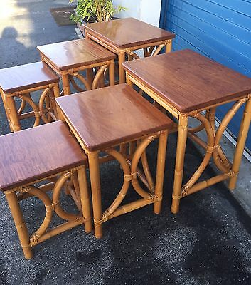 1940'S Nest Of Tables /Rattan With Solid Mahogany Tops