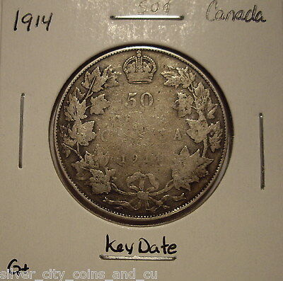 Canada George V 1914 KeyDate Silver Fifty Cents - G+