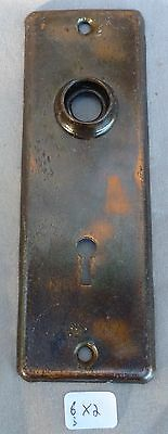 "Door Knob Back Plate flashed copper plated over steel  6""h x 2""w"