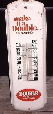 """Vintage DRINK DOUBLE COLA THERMOMETER --- 17"""" soda SIGN .... old rare"""