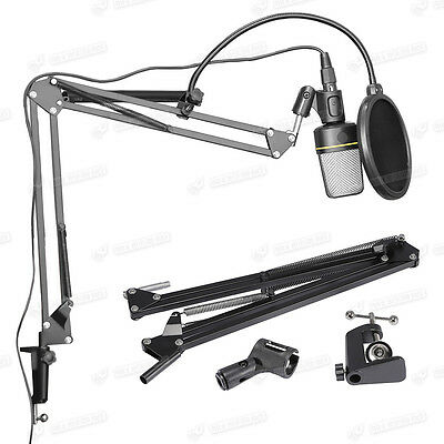 Professional Boom Microphone Mic Stand Holder Adjustable With Clip&Clamp Black