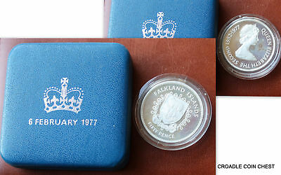 1977 Silver Jubilee Silver Proof Falklands Islands 50 Pence Cased