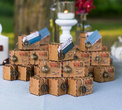 Rustic Airmail Inspiried Vintage ShabbyChic Wedding Favour Boxes With Decoration