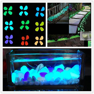 100 Pcs Glow In The Dark Stones Pebbles Rock For FISH TANK AQUARIUM Garden