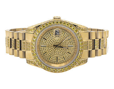 18K Yellow Gold Steel Simulated Yellow Canary Diamond Presidential Watch 41 MM