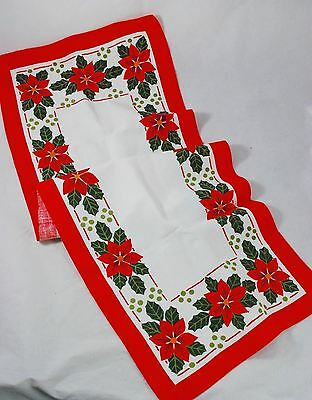 Vintage Christmas Table Runner Poinsettias - Flax/Cotton - Made in SWEDEN