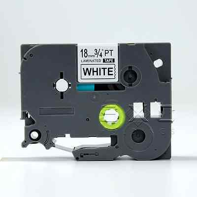 """Compatible to Brother TZE 241 3/4"""" P-touch Black On White Laminated tape 18mm"""