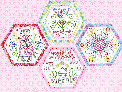 Best Friends Forever 4 - stitchery BOM hexagons - PATTERN + preprinted fabric