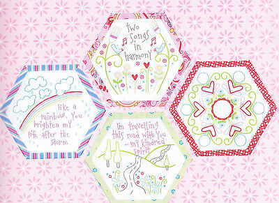 Best Friends Forever 8 - stitchery BOM hexagons - PATTERN + preprinted fabric