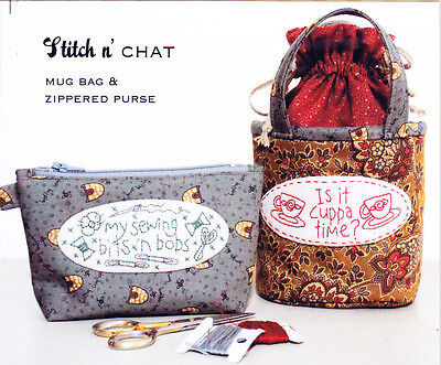 PATTERN - Stitch n Chat - stitchery decorated little bags PATTERN- The Birdhouse