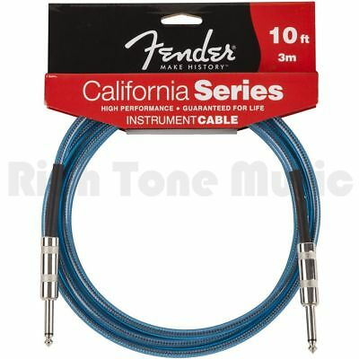 Fender California Clear 10ft Cable - Lake Placid Blue