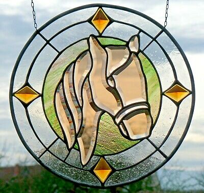 Stained Glass Leaded Glass Suncatcher Faceted Window Image Horse Head in Tiffany