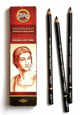 Art Pencils KOH-I-NOOR GIOCONDA Chalk Charcoal Sepia Negro White Coal Graphite