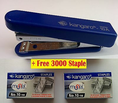 STAPLER WITH STAPLE REMOVER HOOK- SCHOOL,OFFICE HS10-A FREE 3000 STAPLES  Blue