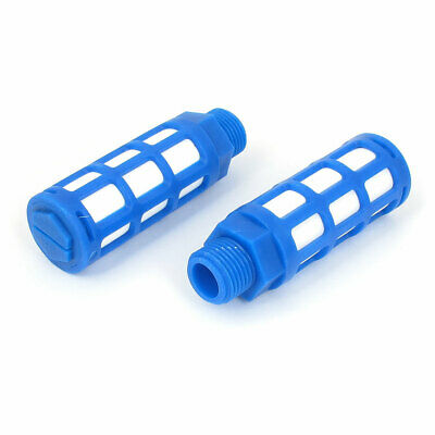 1/2BSP Male Thread Plastic Pneumatic Silencer Muffler Noise Exhaust Blue 2pcs