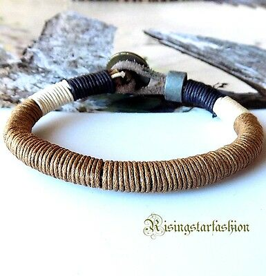 Men's Cool Multi Color Hemp Highlight Surfer Biker Hip Hop Bracelet Wristband