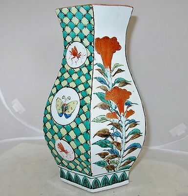 """11.2"""" Signed Japanese Thick Porcelain Hexagon Arita Vase with Flowers & Insects"""