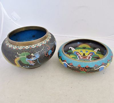 """2 Antique Chinese Black Cloisonne Vases with Yellow Celestial Dragons  (5.75"""")"""