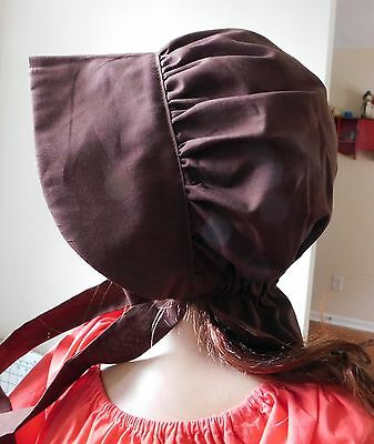 GIRLS BONNET  HAT THEATER REENACTMENT COSTUME LITTLE HOUSE COTTON  real red