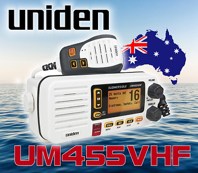 Uniden Um455 Vhf Boat Marine Radio Watertight New Two Way 2-Way Dual Speaker Mic