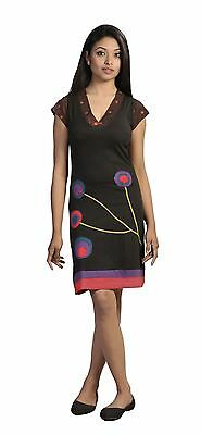 Women's Summer Short Sleeve Dress With Colorful Embroidery & Patch