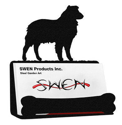 Australian Shepherd Dog Black Metal Business Card Holder