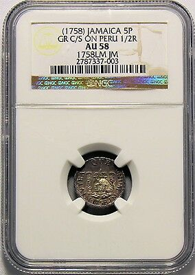 Jamaica - (1758) 5 Pence GR c/s on Peru 1/2R in NGC AU 58   RR