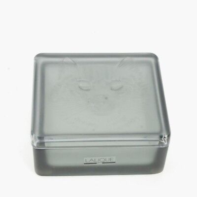 Lalique Gray Frosted Glass Powder Box/trinket Box W/ Cat Face Lid Signed W/label