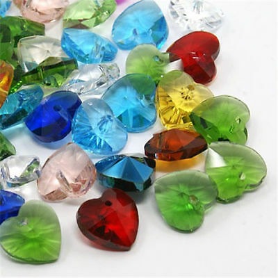 50pcs Mixed Color Clear Acrylic Faceted Heart-Shaped Spacer Beads For Jewel DIY