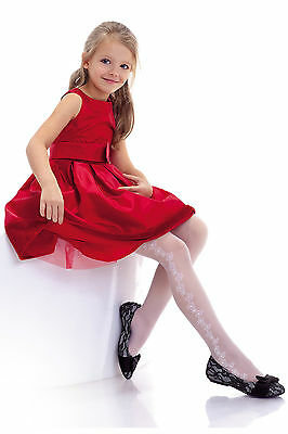 Girls Sheer White Patterned Tights 20 Denier Kids Party Holy Communion