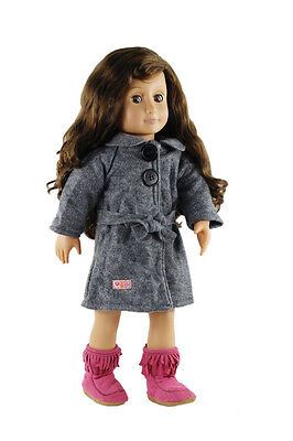 Lovely Gray Woolen Coat Winter Outfit Clothes For 18'' American Girl Doll Gift