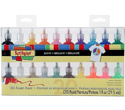 Scribbles 26515 Dimensional Fabric Paint 20-Pack 1-Ounce