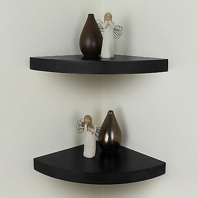 Black Chunky Wood Curved/Radial Floating Corner Wall Shelf Pair/Set of 2 Shelves