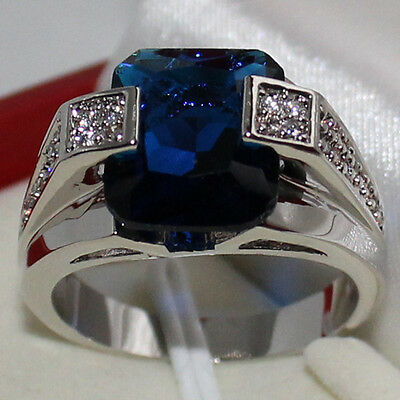 Mens Jewelry Oblong Blue Sapphire with CZ Stone Stainless Steel Ring Size 8-12