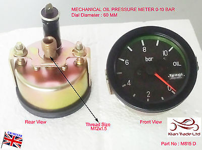 VINTAGE CAR MECHANICAL Manual 0-10 Bar Oil pressure 60MM DIAL Gauge Meter-M615D