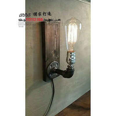 Water Pipe Retro Industrial Vintage Edison Wood Loft Wall Light Cafe Bar Club