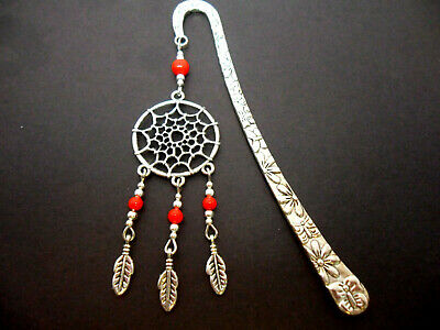 A Tibetan Silver  Dreamcatcher Red Coral  Beads   Bookmark. New.