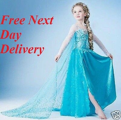 Frozen Elsa Party Dress Blue Fancy cosplay girls childrens kids Wig Crown Wand