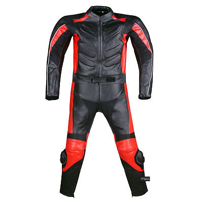New Men's 2PC Motorcycle Leather Racing Armor Suit 2 PC Two Piece Red US