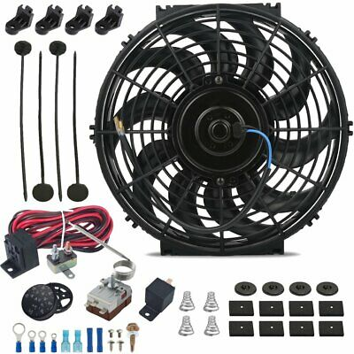 """12"""" Inch Electric Automotive Radiator Fan & Adjustable Thermostat Controller Kit"""