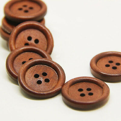 50 Bulk Wooden Dark Brown Round Sewing 4 Hole Buttons Hot Sell