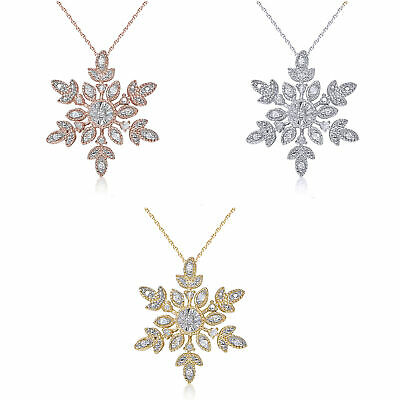 Sterling Silver 1/10ct TDW Diamond Snowflake Necklace