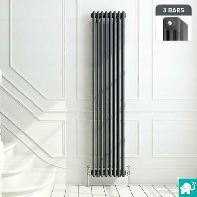 Traditional Style Triple Bar Vertical Anthracite Radiator - 1800 x 376mm
