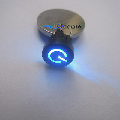 2pc  Blue LED 10mm Black Cap Power 12V 50mA Momentary Tact Push Button Switch