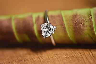 1.25 CT Heart Shaped Cut Solitaire Engagement Ring Solid 14k White Gold
